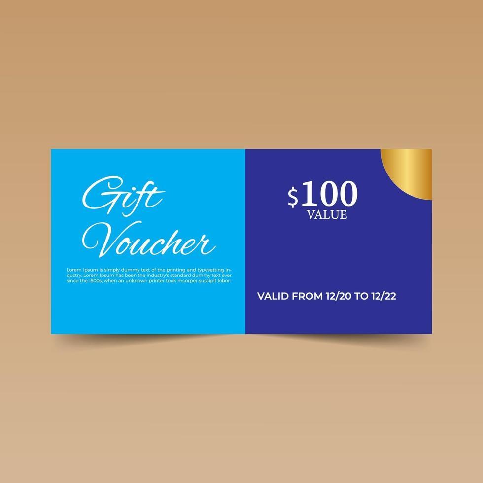blaue Geschenkgutschein-Entwurfsschablone vektor