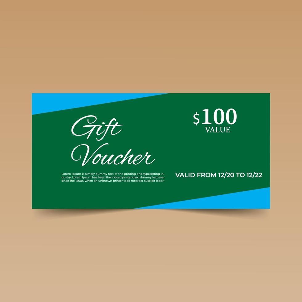 grüne Geschenkgutschein-Entwurfsschablone vektor