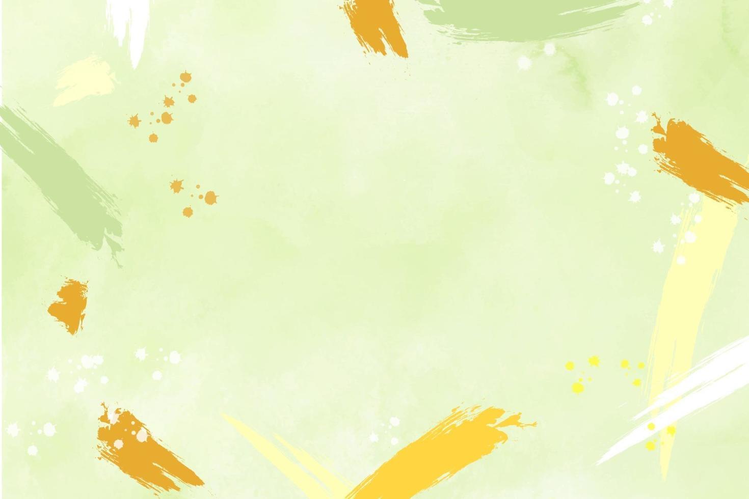 grön akvarell bakgrund med pastell orange och gult abstrakt vektor