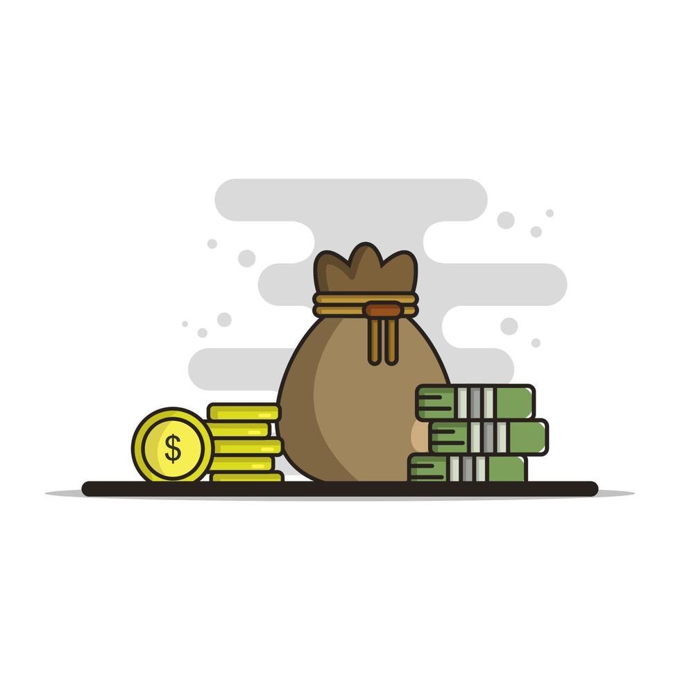 pengar väska ikonen på bakgrunden vektor