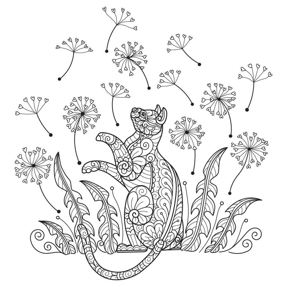 Katze und Blume auf weißem Hintergrund. handgezeichnete Skizze für Malbuch für Erwachsene vektor