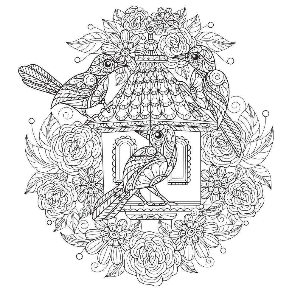 Vogelhaus auf weißem Hintergrund. handgezeichnete Skizze für Malbuch für Erwachsene vektor