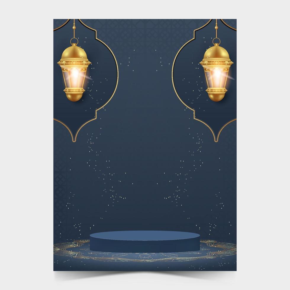 ramadan kareem affischmall med podium. ramadan affisch för marknadsföring. vektor