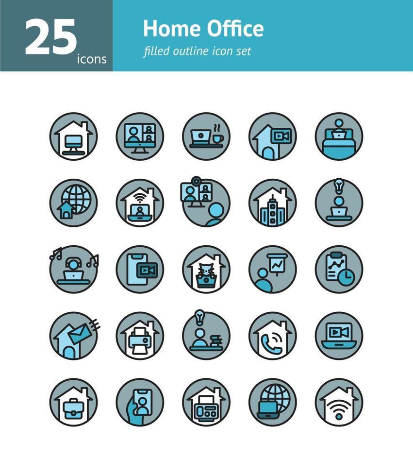 hemmakontor fylld kontur ikonuppsättning. vektor