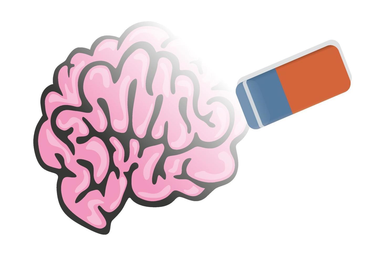 en radergummi raderar minnet av en hjärna vektor