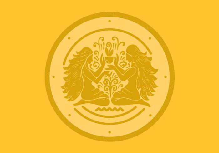 Gemini Zwillinge Sternzeichen Abzeichen vektor