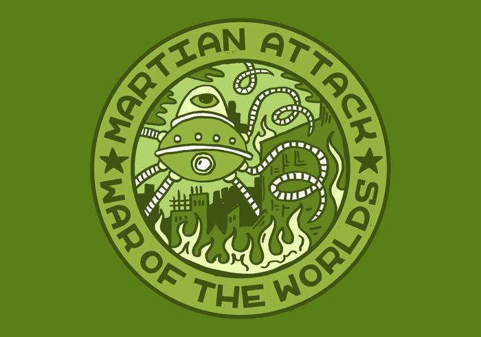 Alien attack merit badge vektor