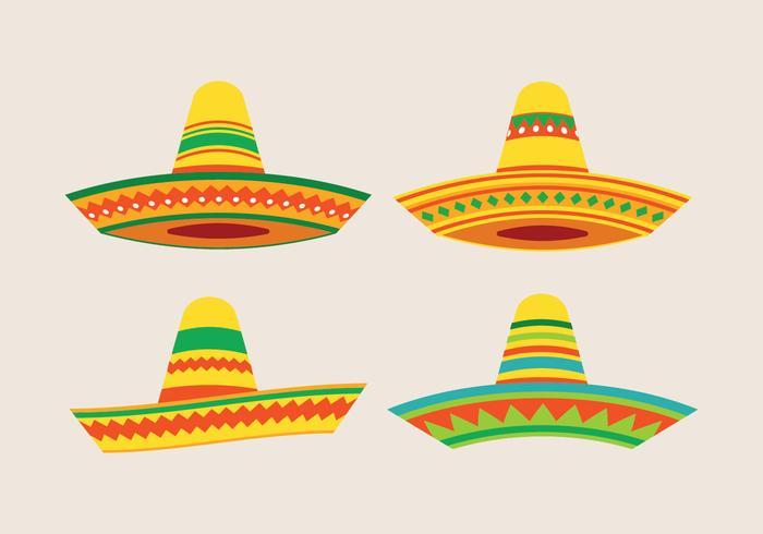 Sombrero mexikanischer Hutsatz vektor