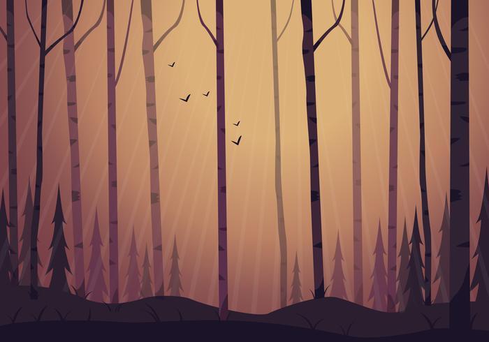 Vektor-Waldlandschafts-Illustration vektor