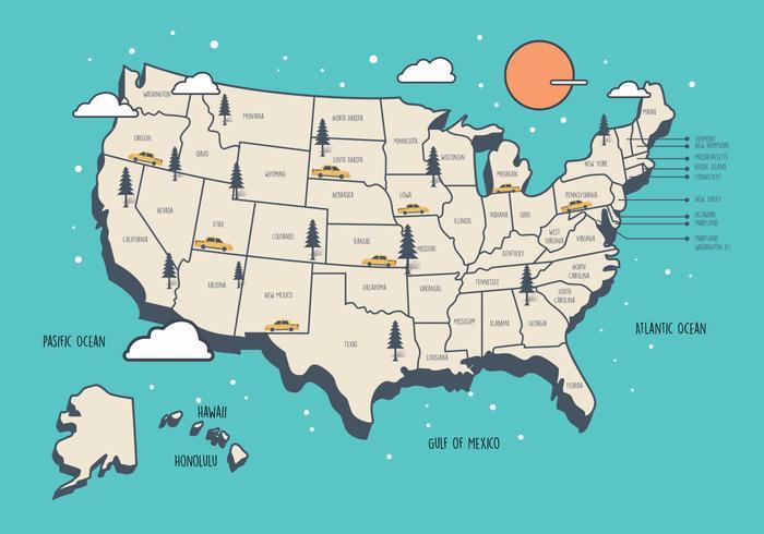 United States landmärke karta vektor