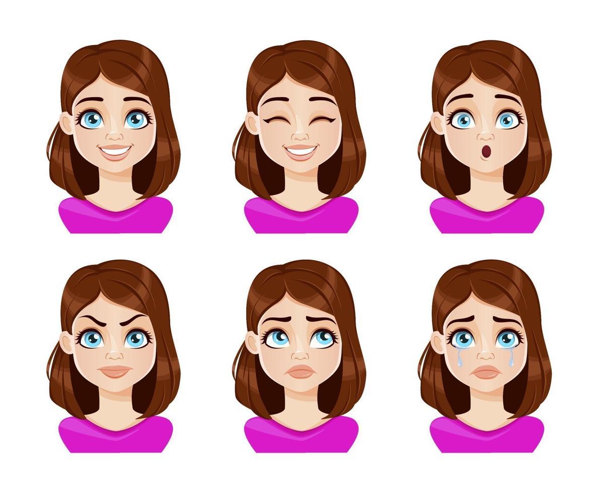 ansiktsuttryck av kvinna i lila blus vektor