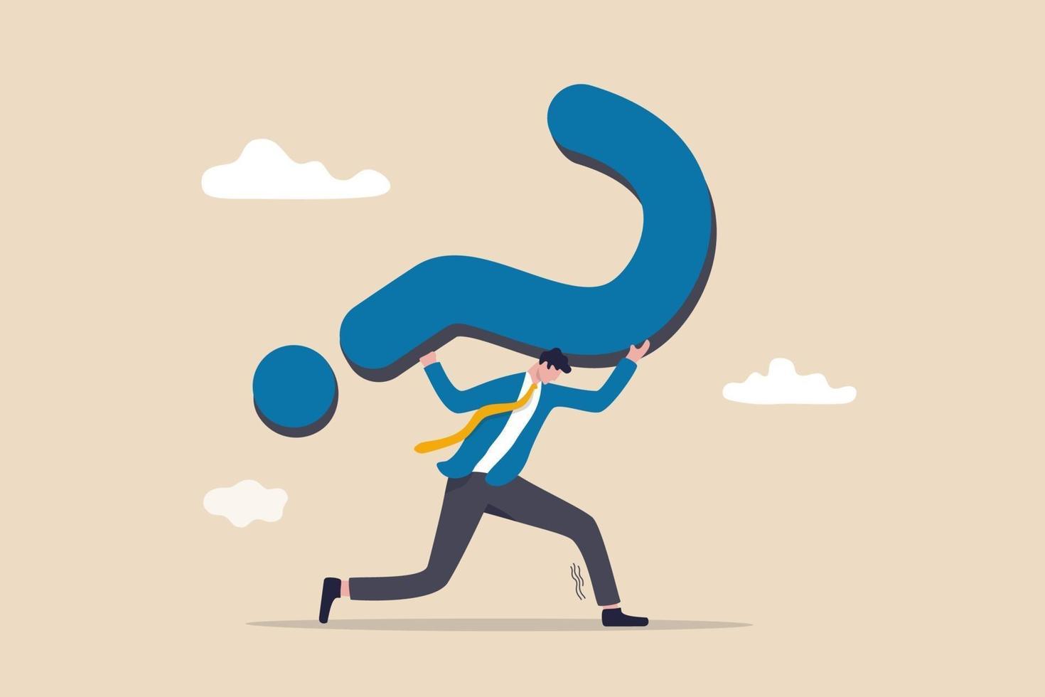 svår fråga utan svar eller lösning, kritiskt affärsproblem, tvivelaktigt eller stressbelastningskoncept vektor