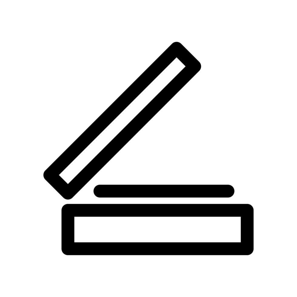 skanner kontur ikon. svartvitt objekt från uppsatta dedikerade datorer och kontorsutrustning, linjär vektor. vektor