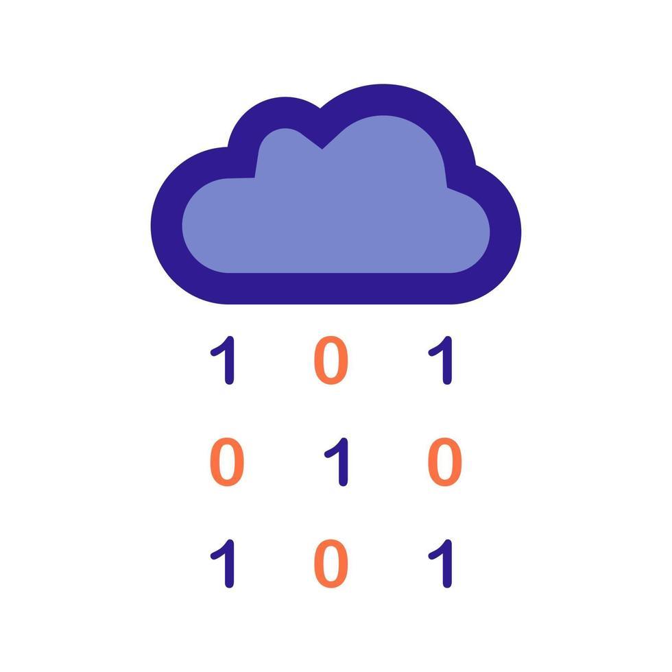 Wolken- und Datenregenumriss-Symbol. Vektorelement aus dem Set für Big Data und maschinelles Lernen. vektor