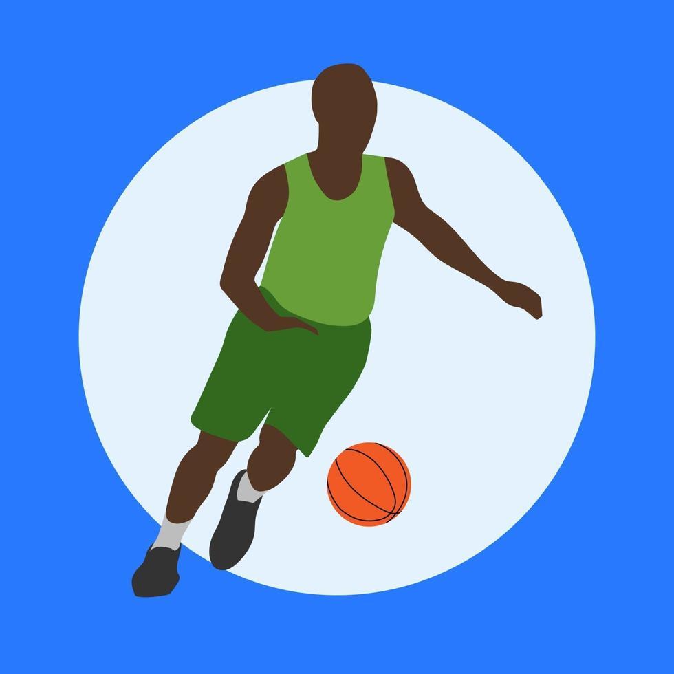 basketspelare i vagnstil. springande man med en orange boll. sport illustration. vektor isolerade.