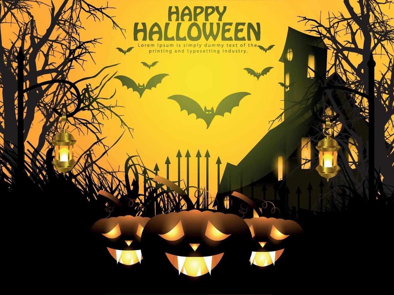 halloween nattbakgrund med glödande pumpa, spökhus och fladdermöss. vektor
