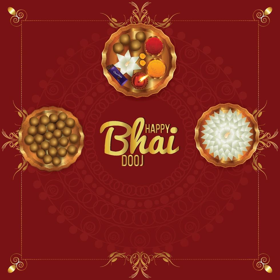 glad bhai dooj firande med pooja thali och bakgrund vektor