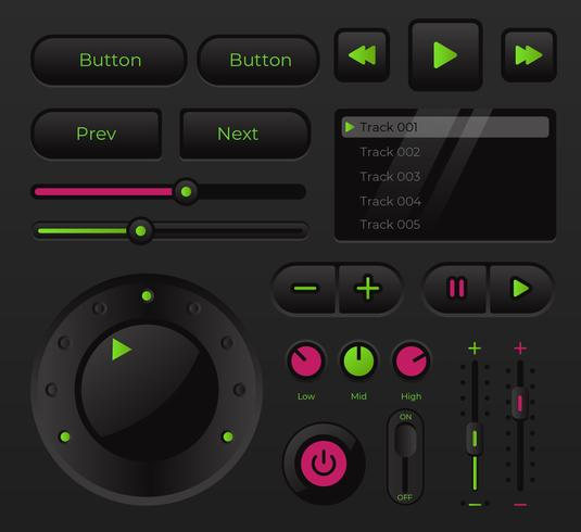 modern ljudmusik ui kontroll vektor