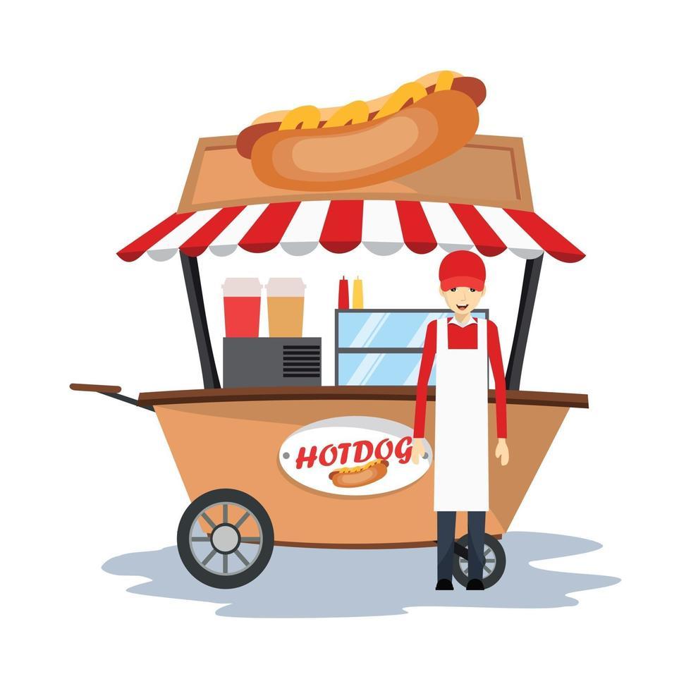 Hot Dog Verkäufer mit Wagen vektor