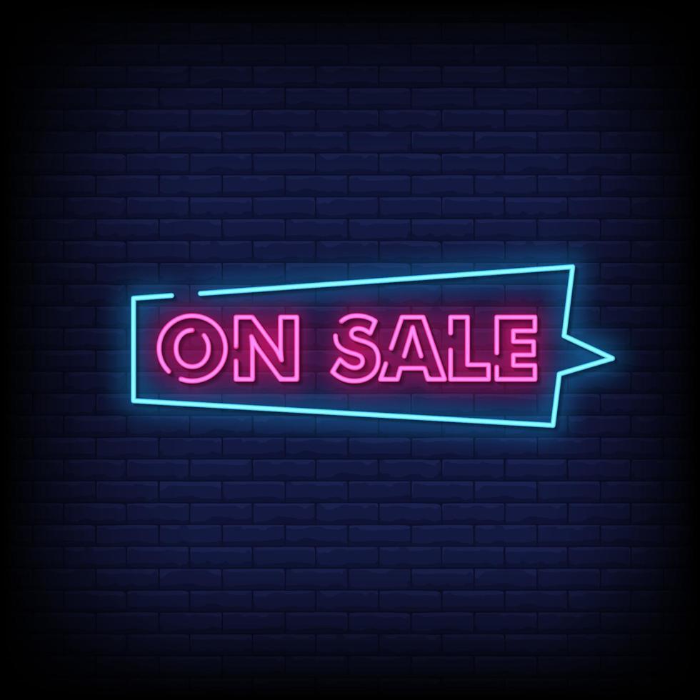 på försäljning neonskyltar stil text vektor