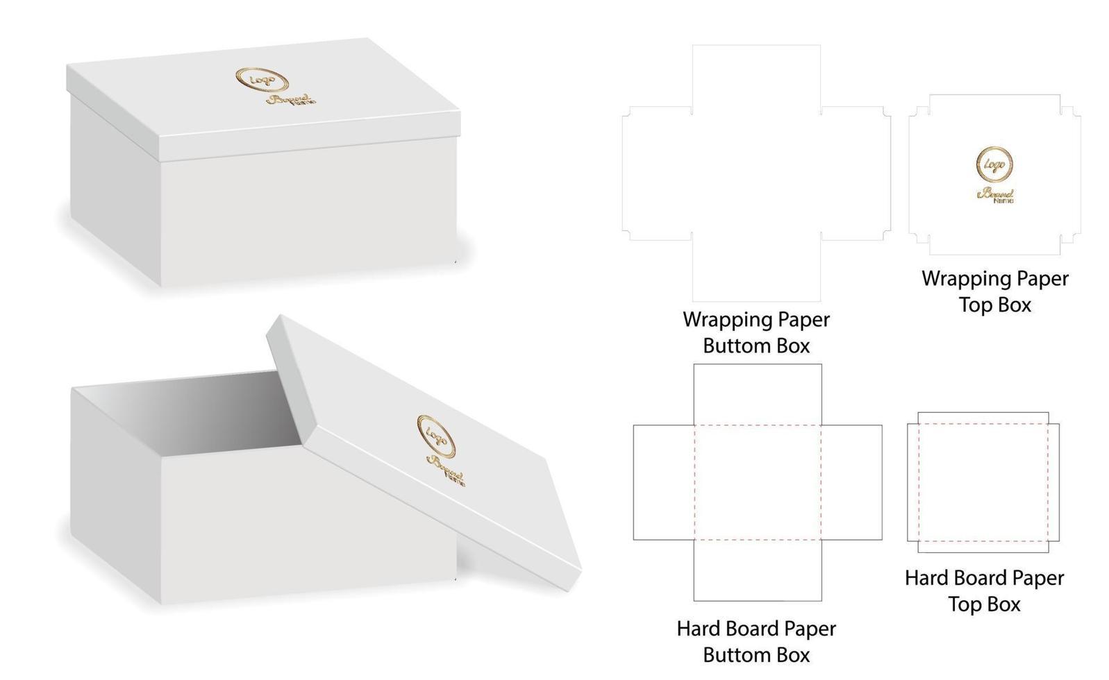 låda förpackning stansad mall design. 3d mock-up vektor