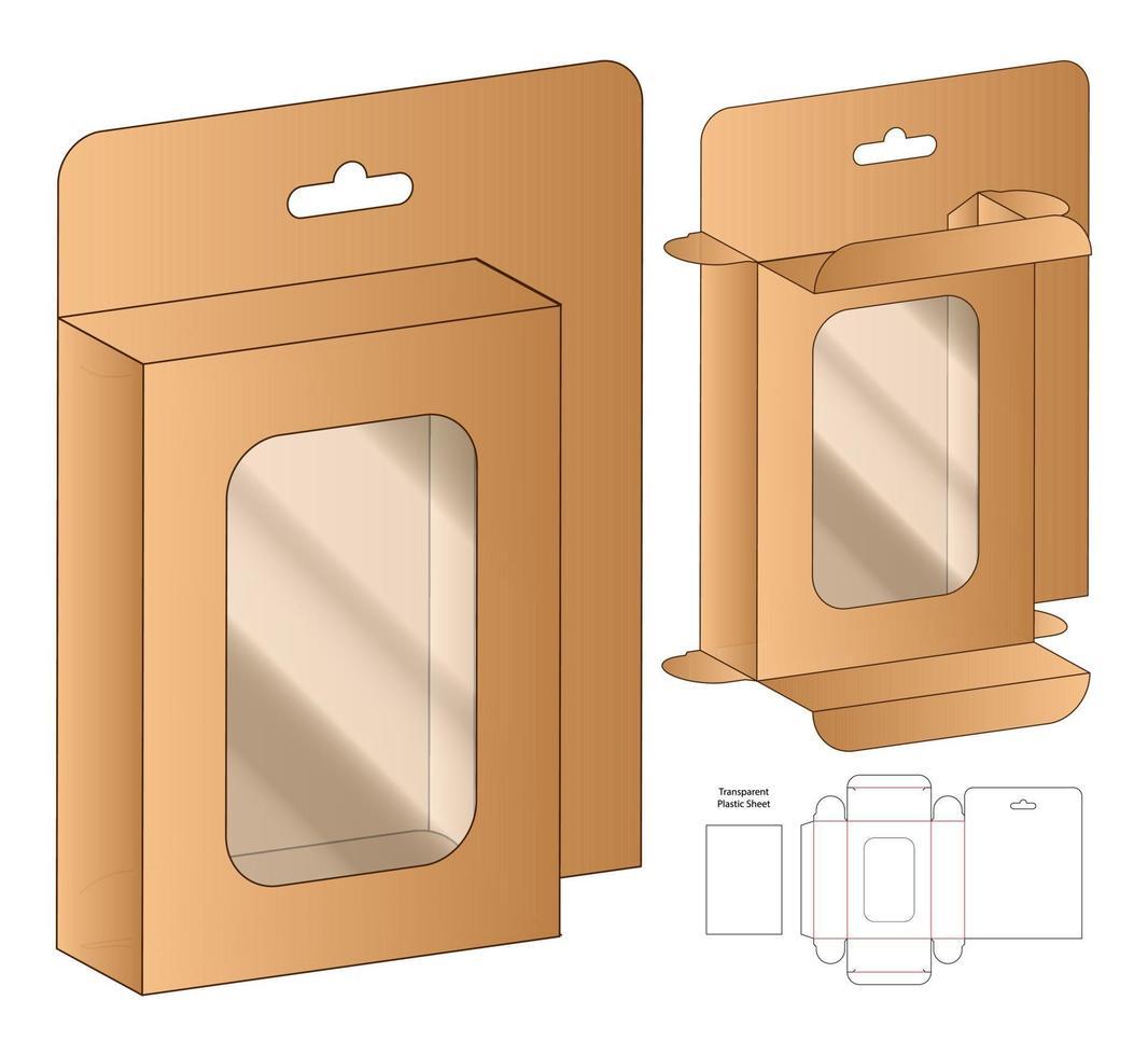 Box Verpackung gestanzte Vorlage Design. 3D-Modell vektor