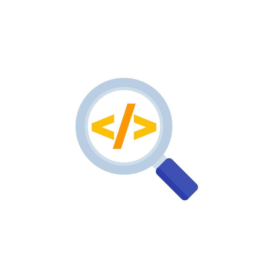 kod granskning vektor ikon, platt