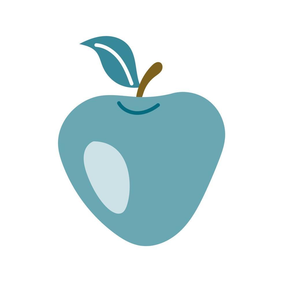 grüner Apfel mit einem Blatt auf einem weißen Hintergrund. Vektorbild im flachen Stil, Symbol vektor