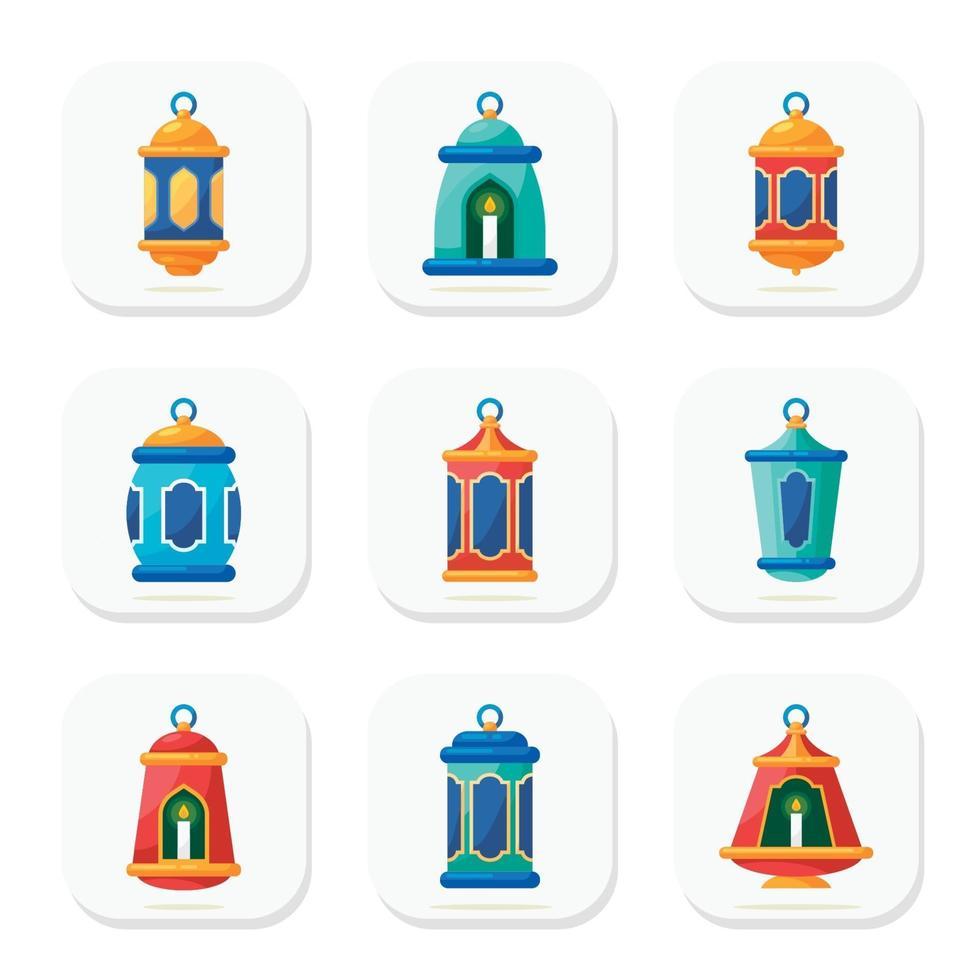 islamisk lyktaikonsamling vektor