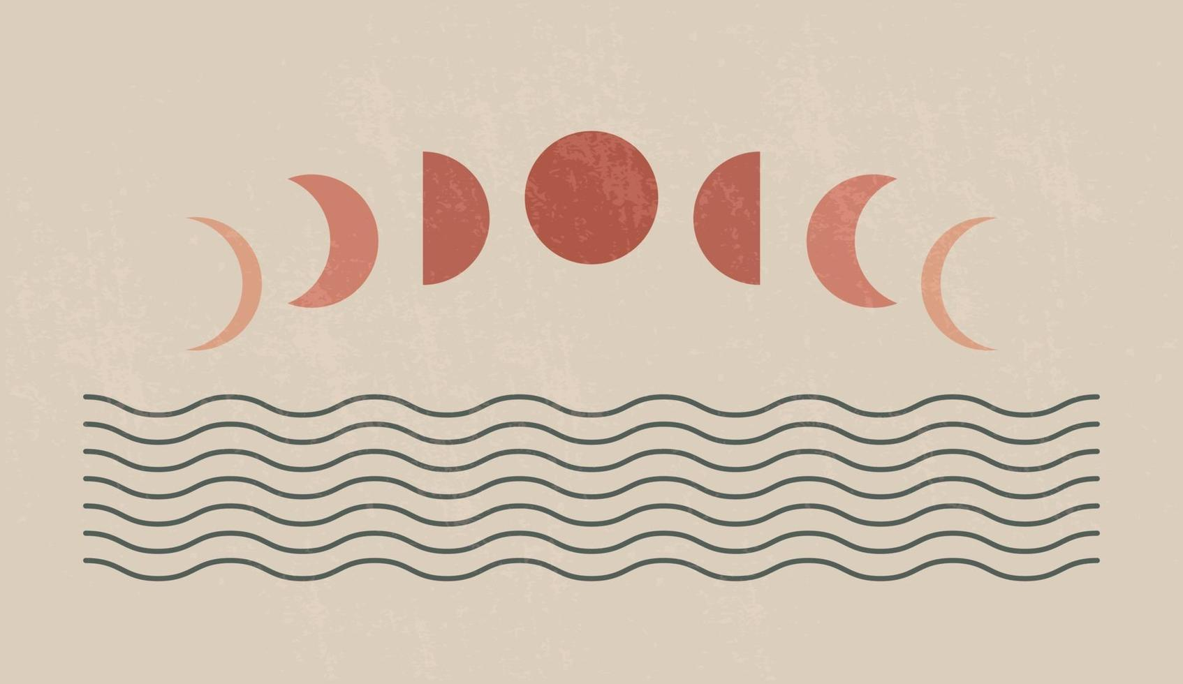 moderner minimalistischer Kunstdruck der Mitte des Jahrhunderts mit organischer natürlicher Form. abstrakter zeitgenössischer ästhetischer Hintergrund mit geometrischen Mondphasen und Meer. Boho Wanddekoration. vektor