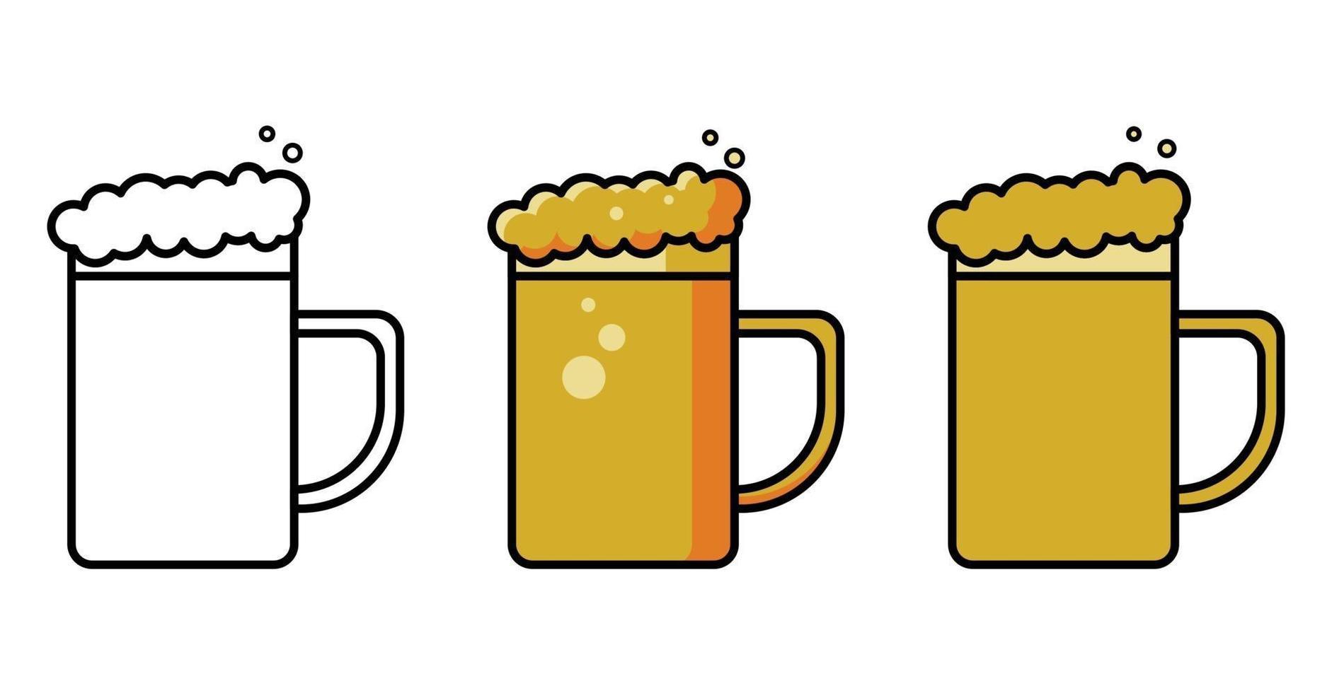 öl mugg vektor ikoner set
