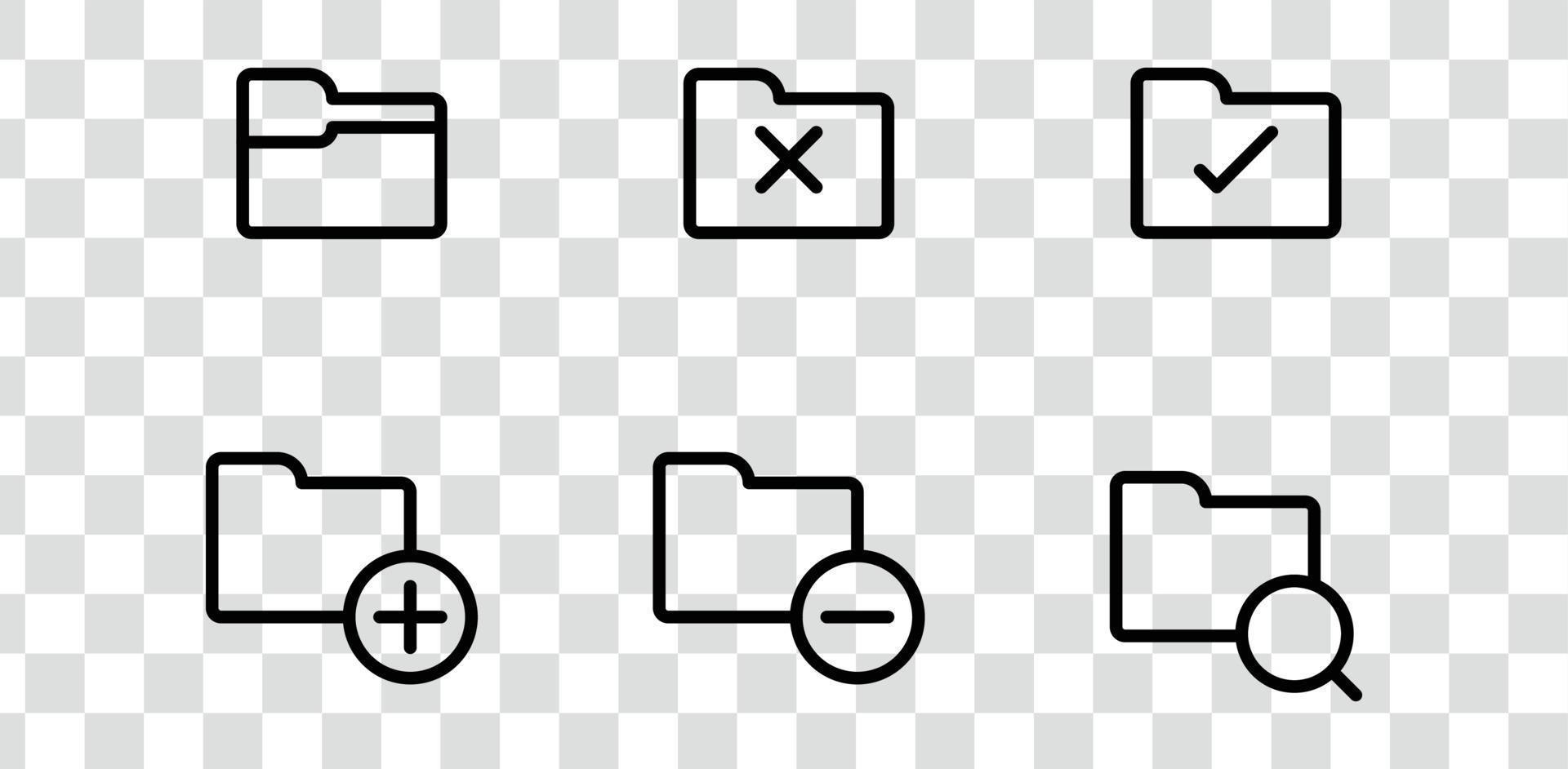 Ordnersymbole packen, suchen, archivieren, verifizieren, fehlerhafte Computervektorsymbole, die auf transparentem Hintergrund isoliert werden vektor