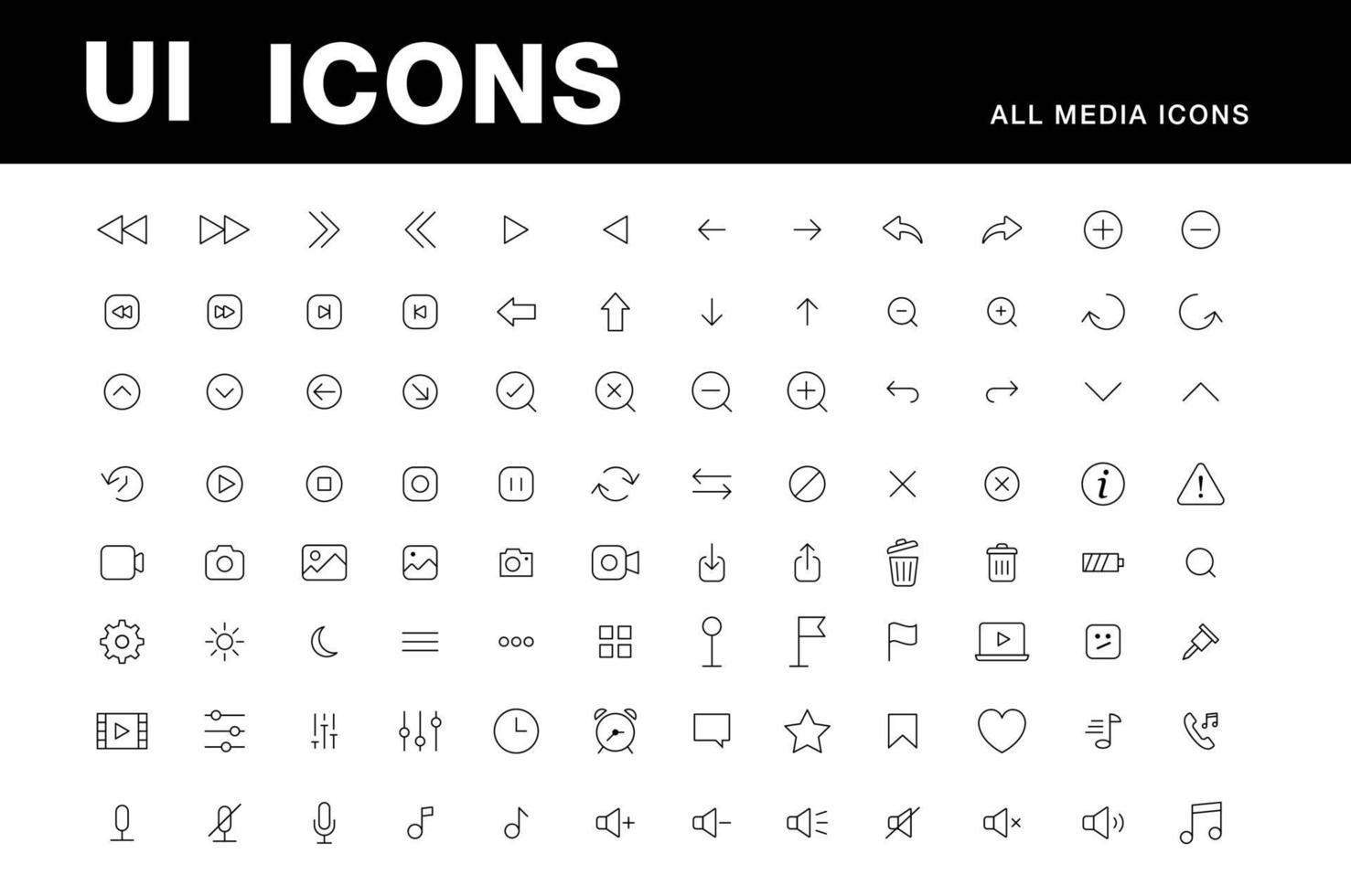 ui ikoner mediaspelare vektor ställa in alla viktiga ikoner spela pilar, paus, volym, inspelare, dator, galet