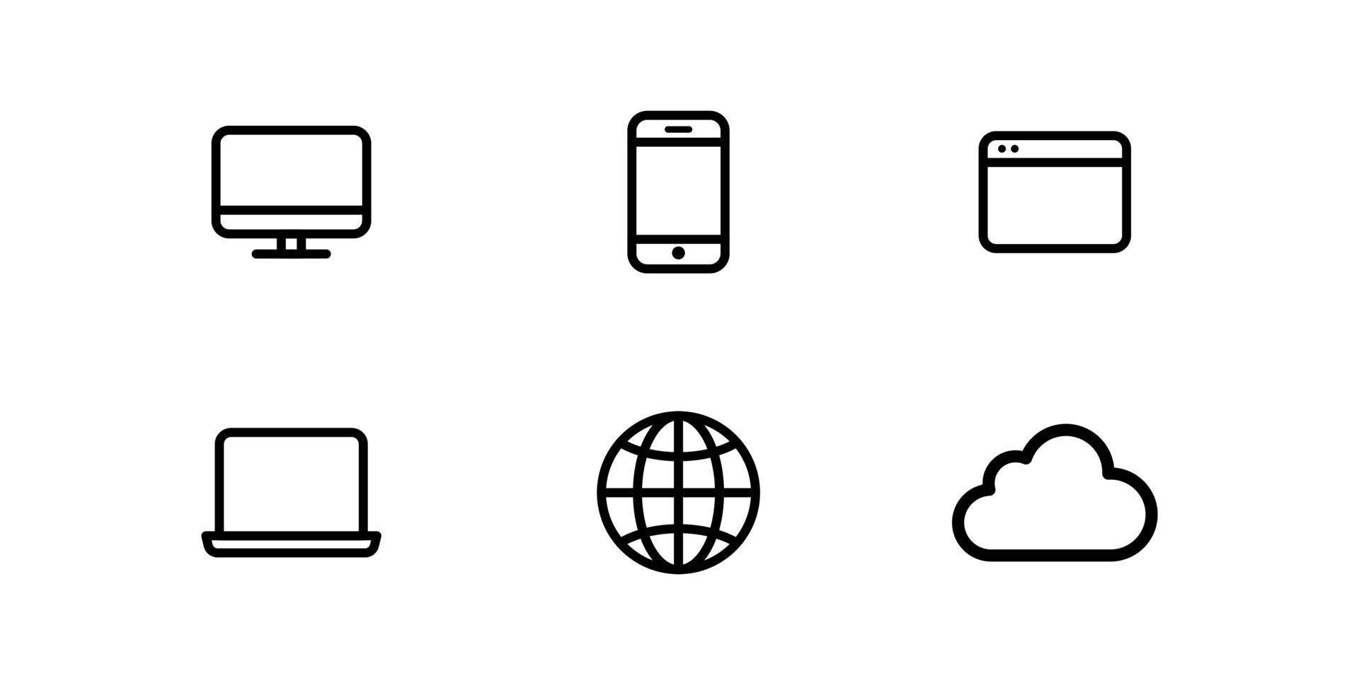 webb mobiltelefon dator nätverk viktiga ikoner pack samling gratis vektorer