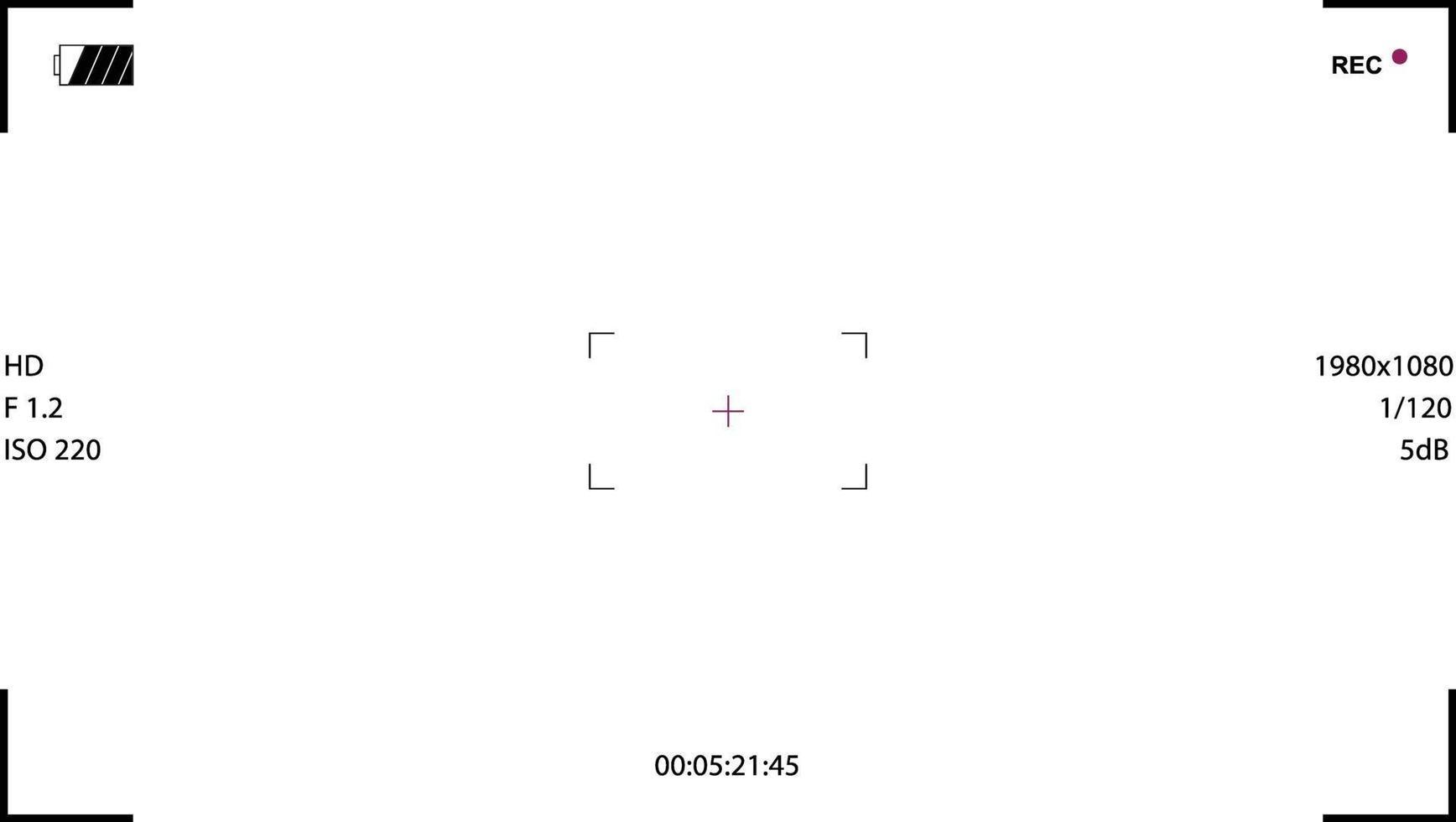 Sucher-Videokamera-Vorlage, weißer Bildschirm mit Fokuszoom und ISO vektor