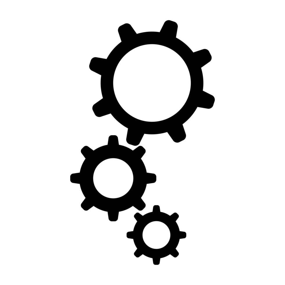redskap svart vektor ikoner set, inställningar, mekanisk maskinsymbol