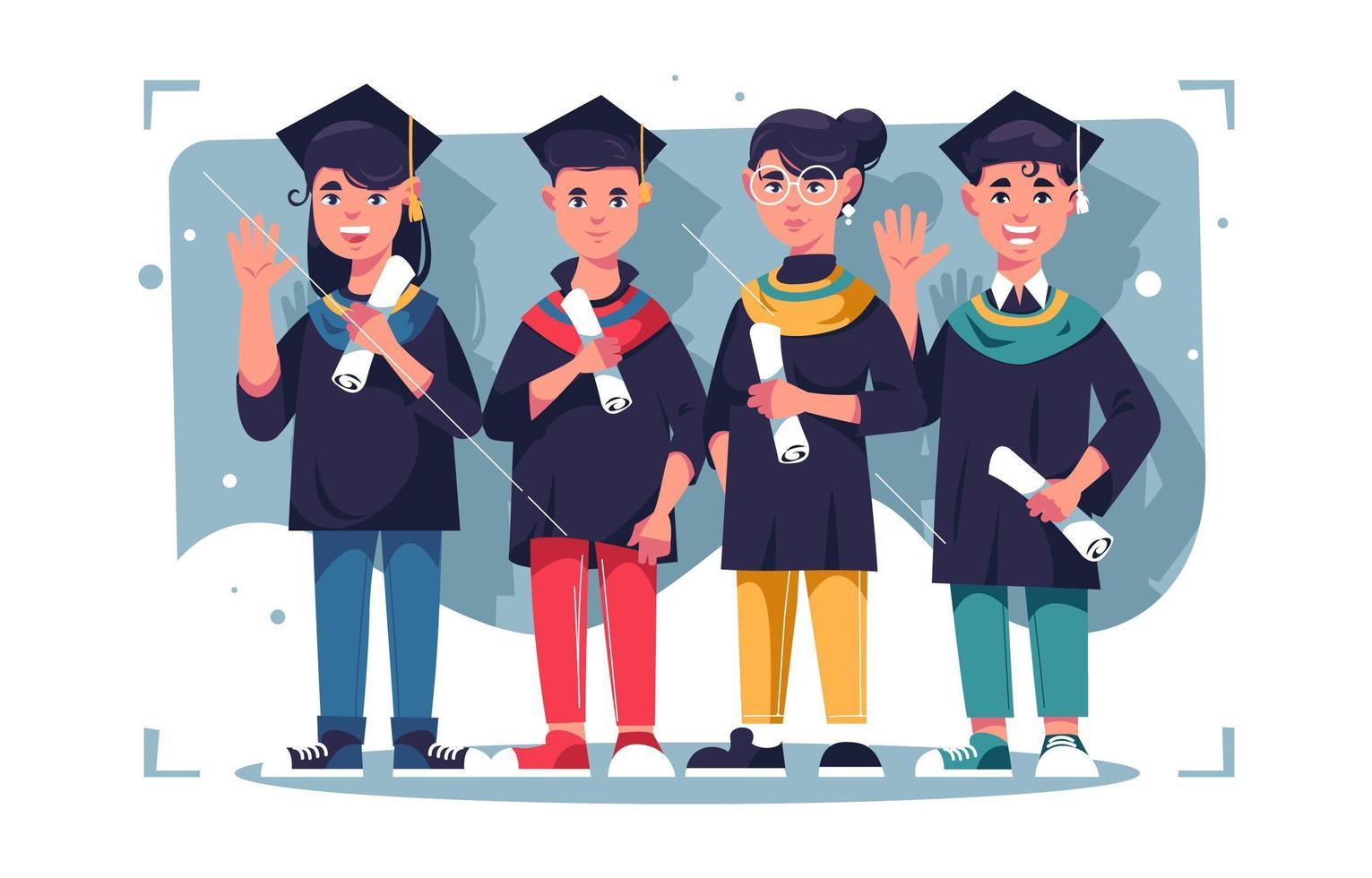 uppsättning ungdom karaktär firar examen vektor