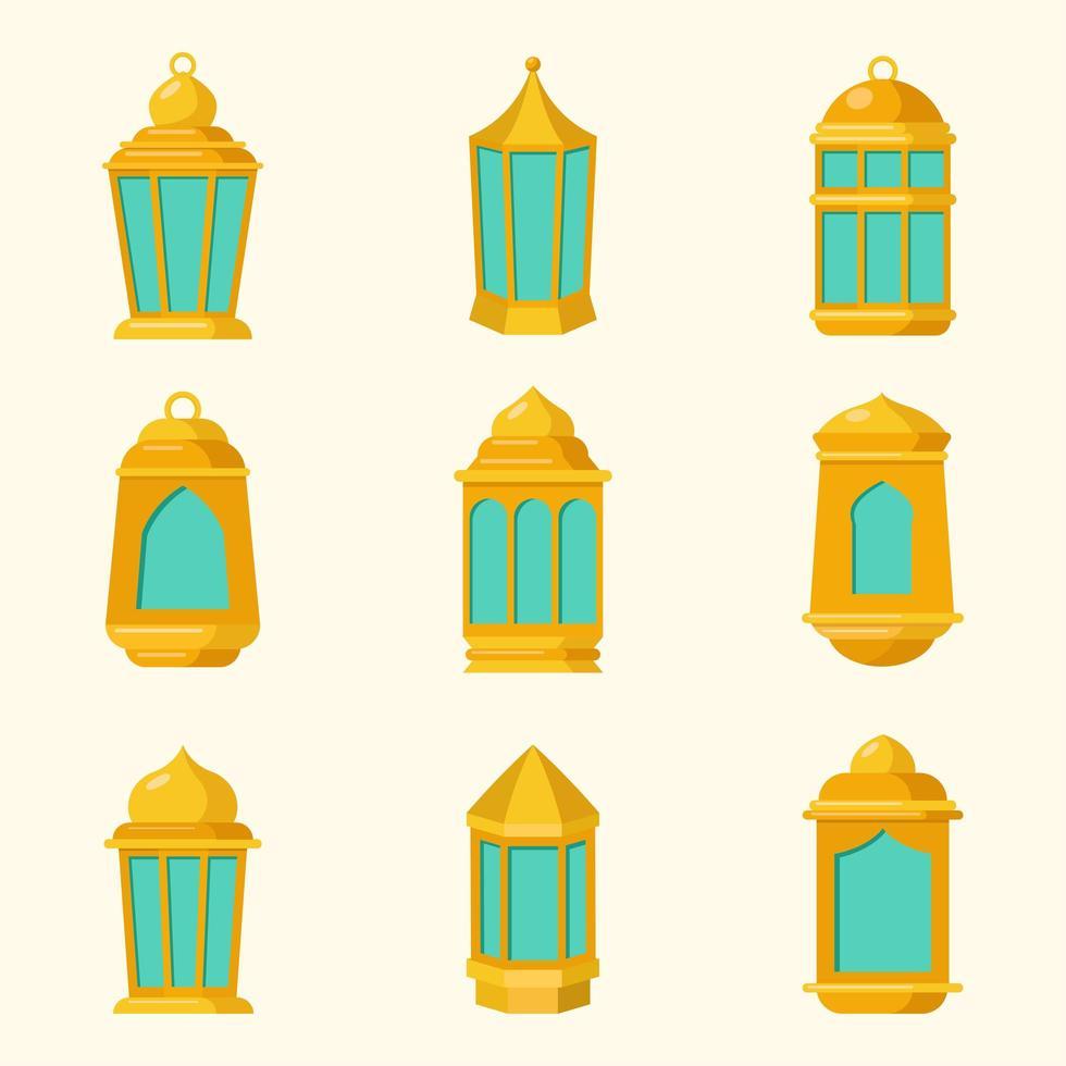 eid lantern ikonuppsättning vektor