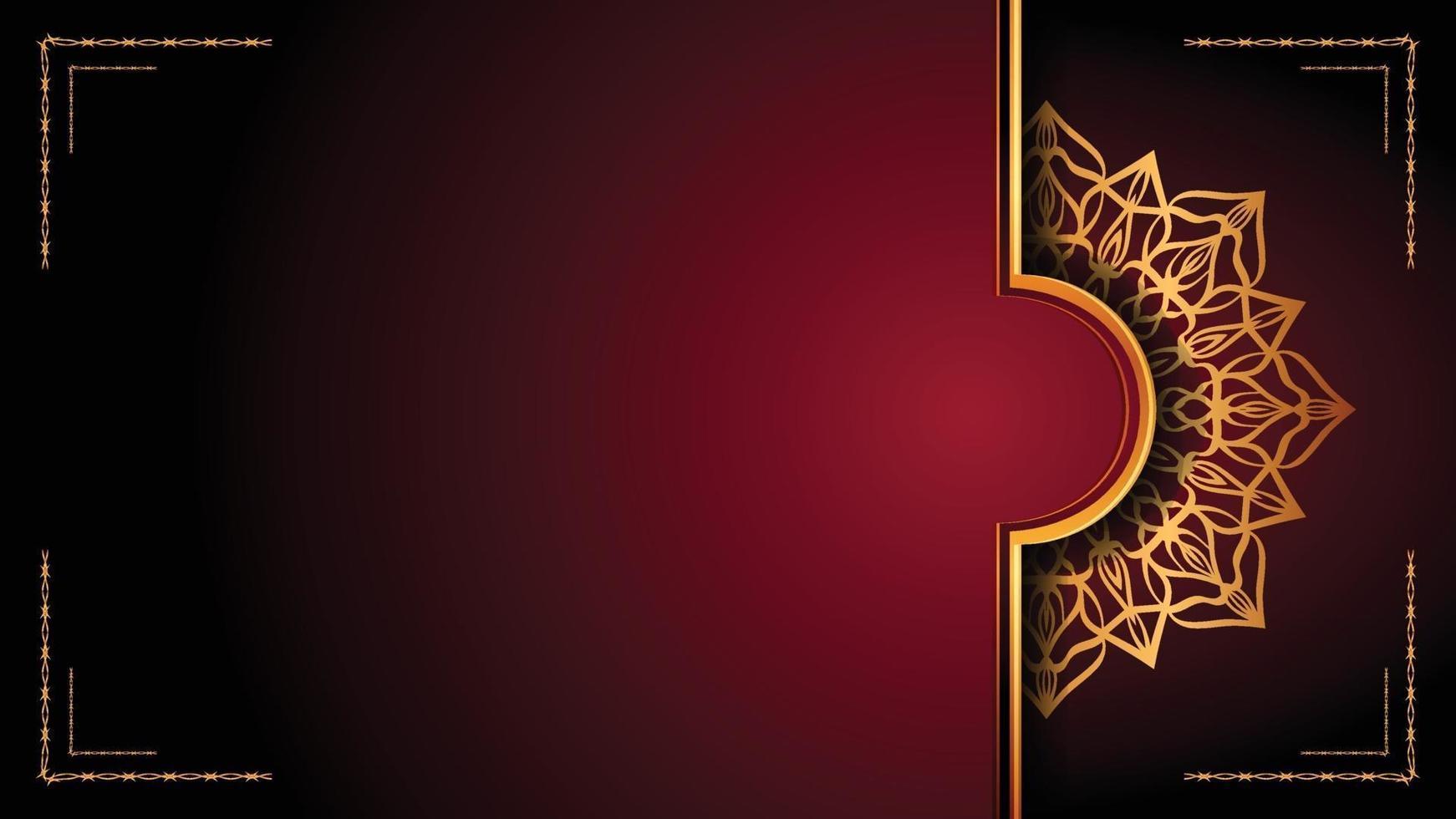 Luxus-Mandala-Zierhintergrunddesign mit goldenem Arabeskenmusterstil. dekorative Mandala-Verzierung für Druck, Broschüre, Banner, Umschlag, Plakat, Einladungskarte. vektor