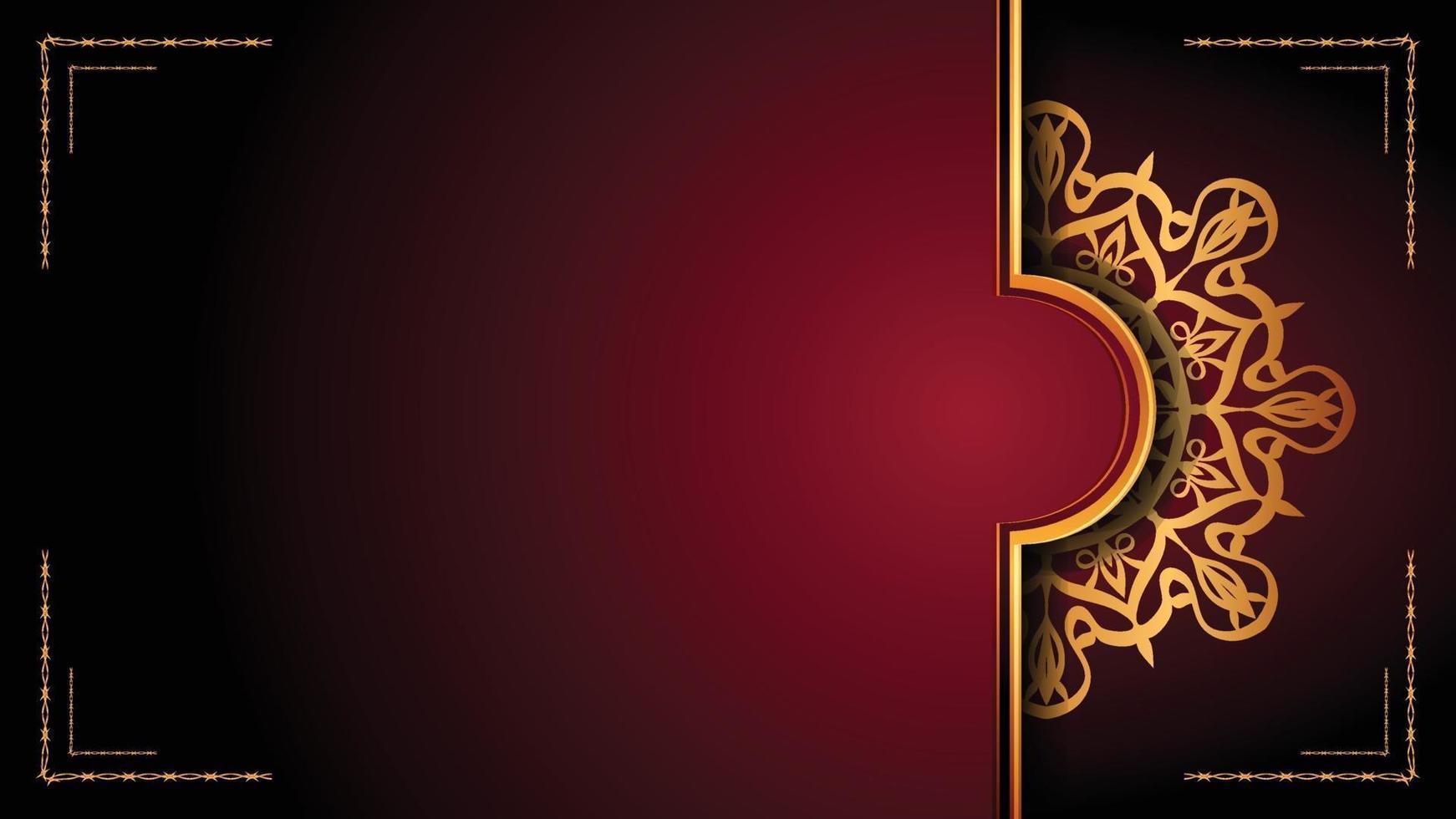 lyxig mandala dekorativ bakgrundsdesign med gyllene arabesk mönsterstil. dekorativ mandala prydnad för tryck, broschyr, banner, omslag, affisch, inbjudningskort. vektor