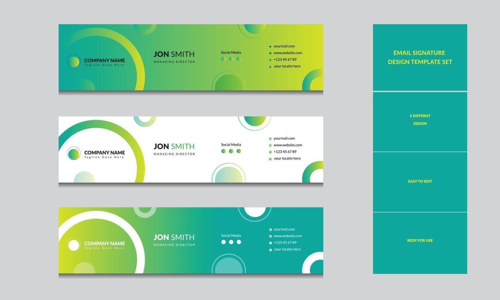 mall för e-signatur, professionell e-postdesignlayout vektor