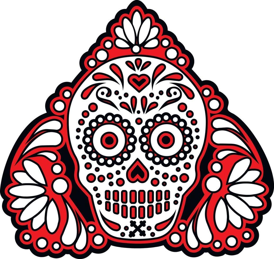 mexikanischer Zuckerschädel, Weinlesedesign vektor