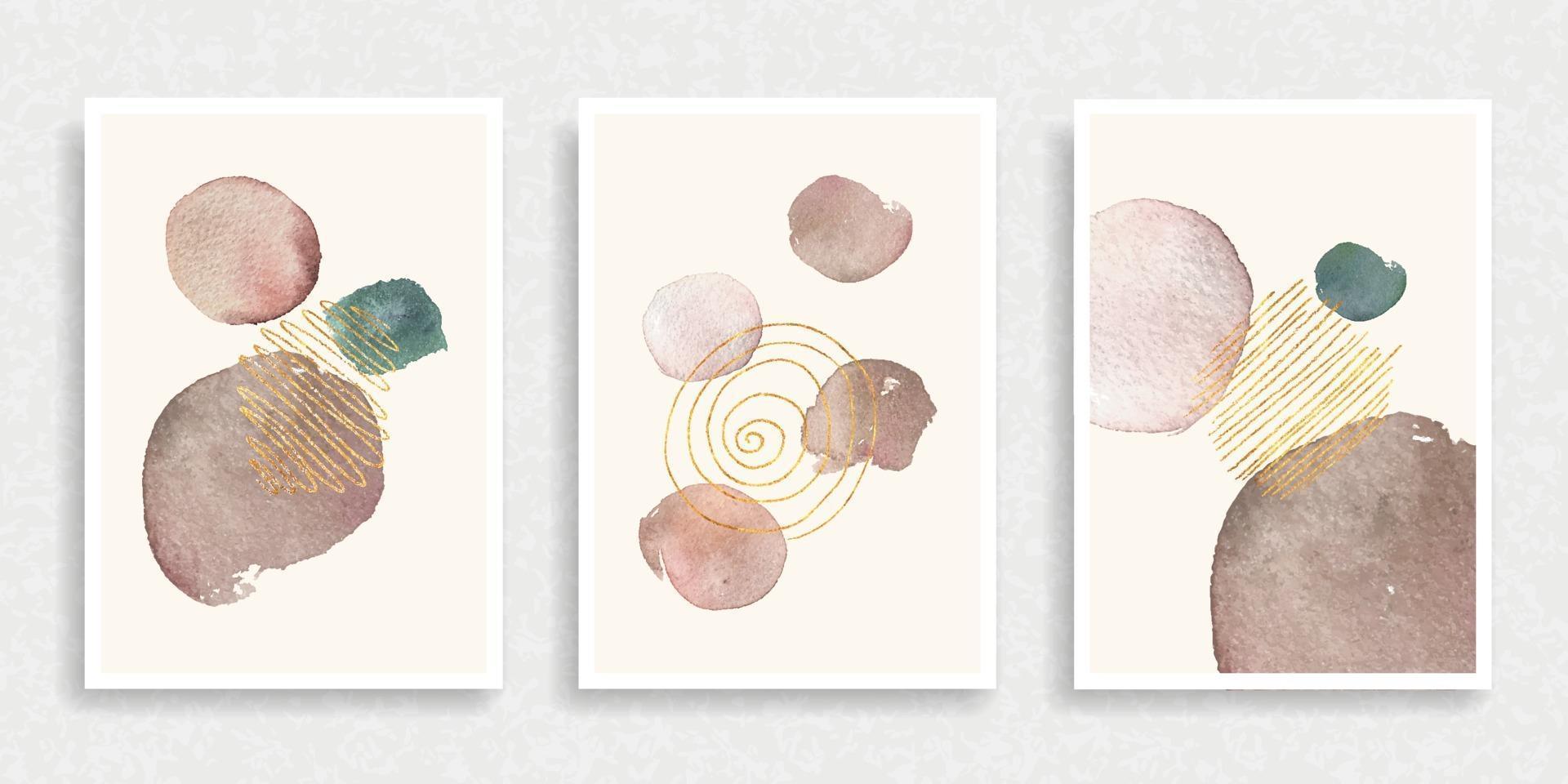 uppsättning av 3 kreativa minimalistiska handmålade illustrationer vektor