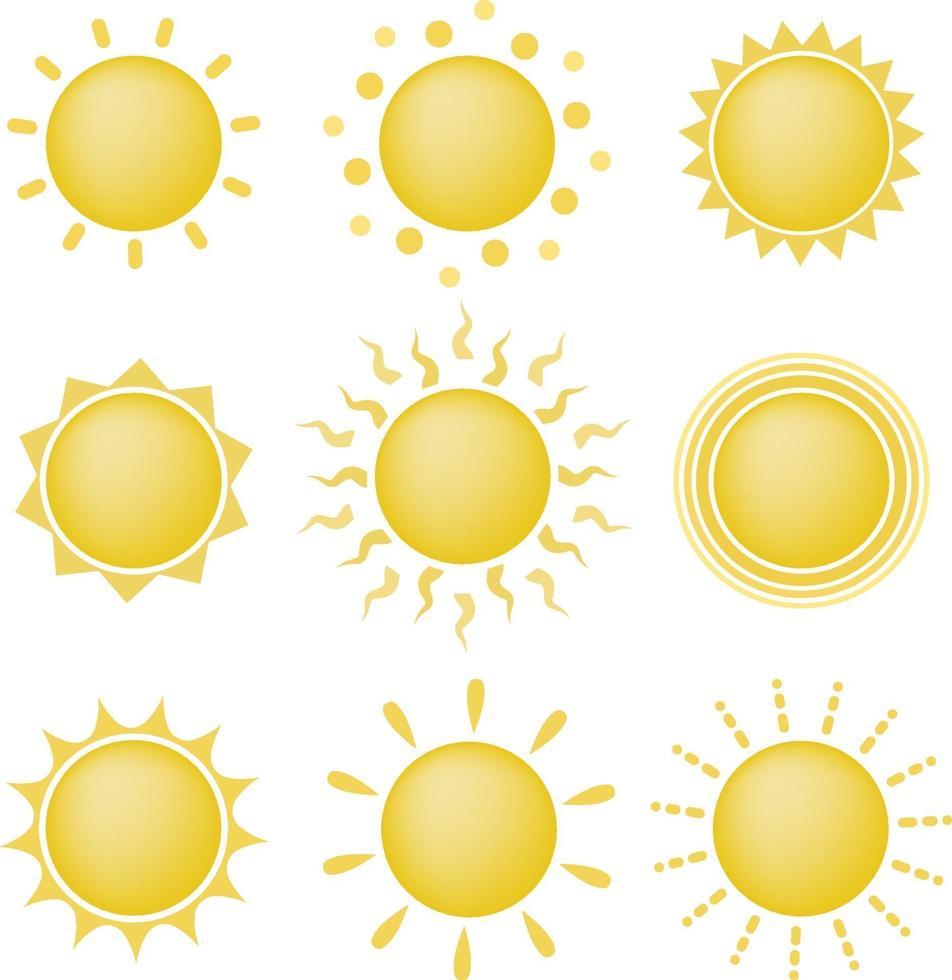 Satz von Sonnensymbolen vektor