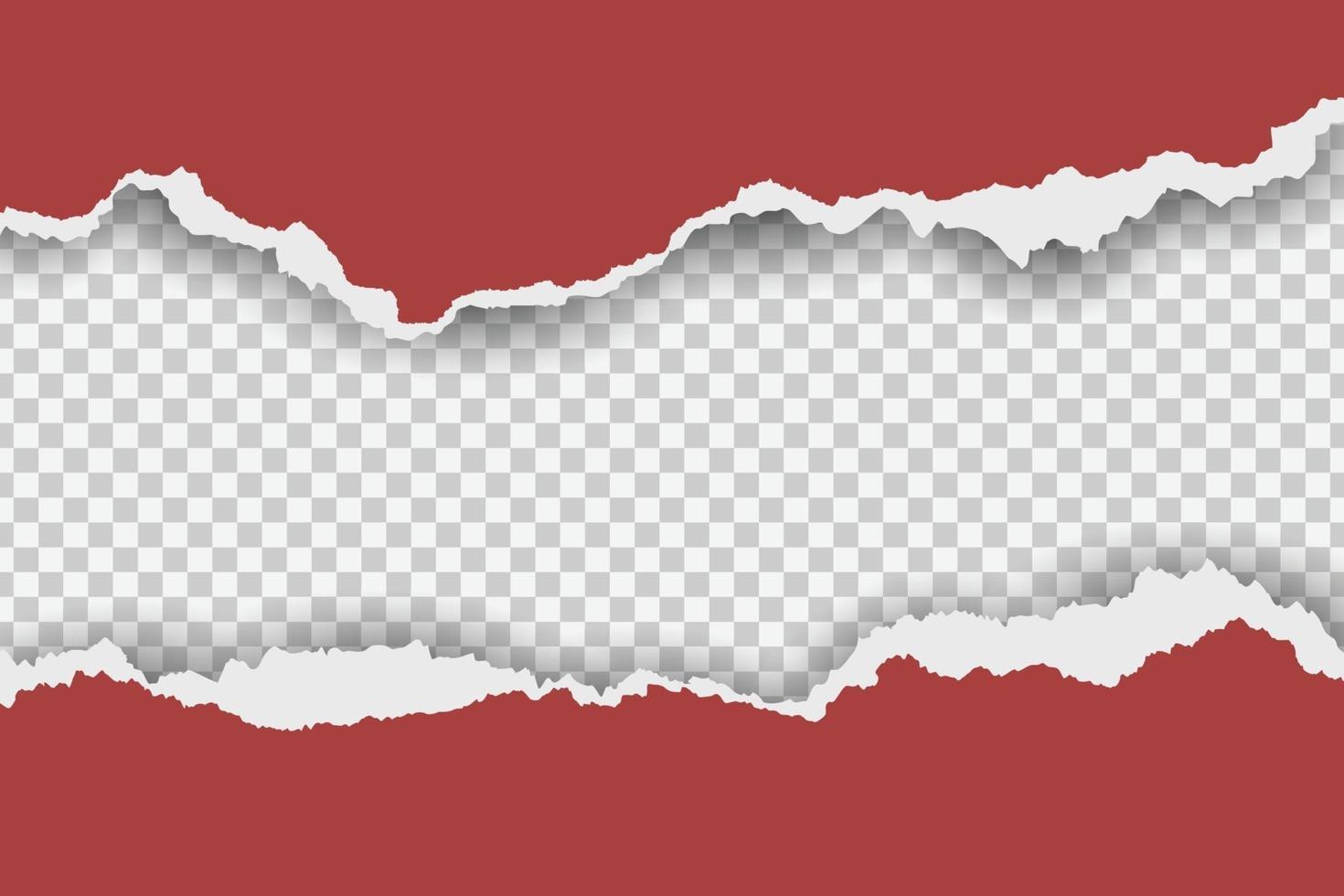 zerrissener roter Papierrahmen auf transparentem Hintergrund vektor