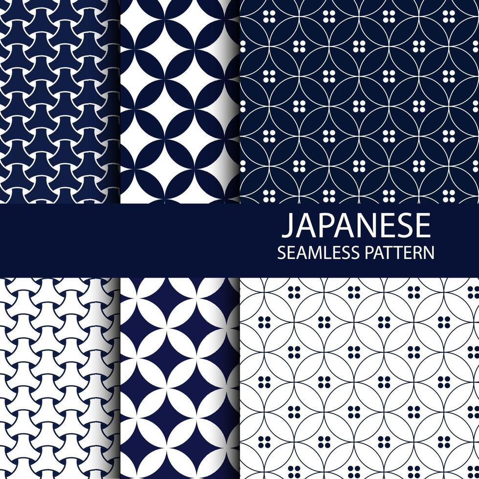 Satz traditionelles japanisches nahtloses Muster in der Indigofarbe vektor
