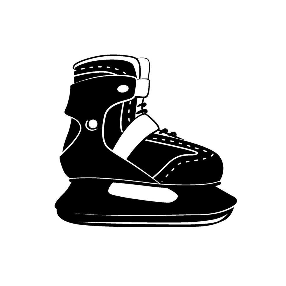skridskoåkning glyph ikon, vinteraktivitet och sport, svart logotyp skridskoåkning tecken, solid mönster isolerad på vit bakgrund, vektor