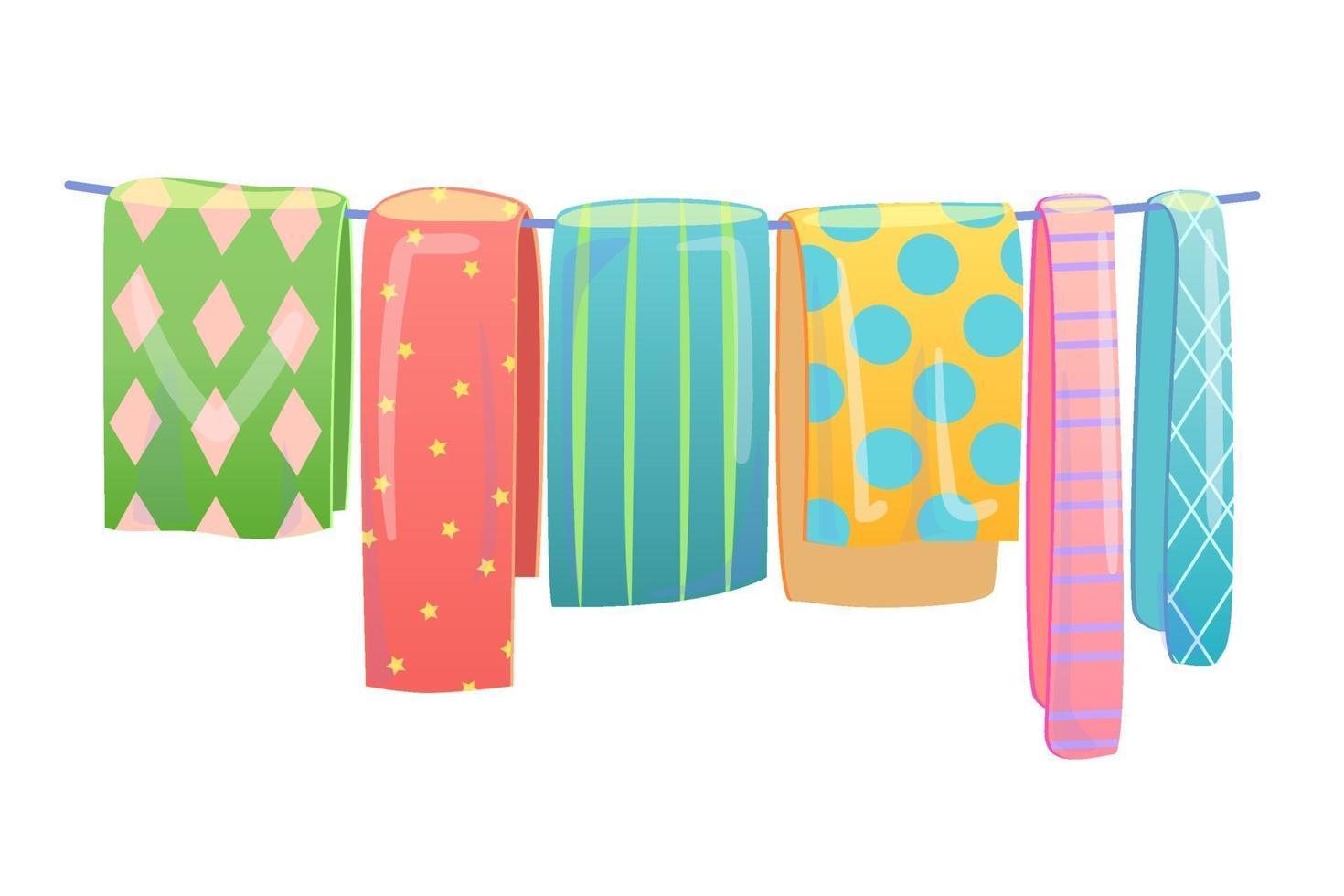 filtar torkar på klädstreck. tvättservice koncept. detaljhandel försäljning inbjudan. handgjorda tyg textil marknadsföring reklamblad, banner layout. dekorativa grejer illustration isolerade på vitt. vektor