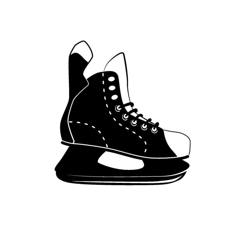 hockey skridskoåkning glyph ikon, vinteraktivitet och sport, svart logotyp skridskoåkning tecken, fast mönster isolerad på vit bakgrund, vektor