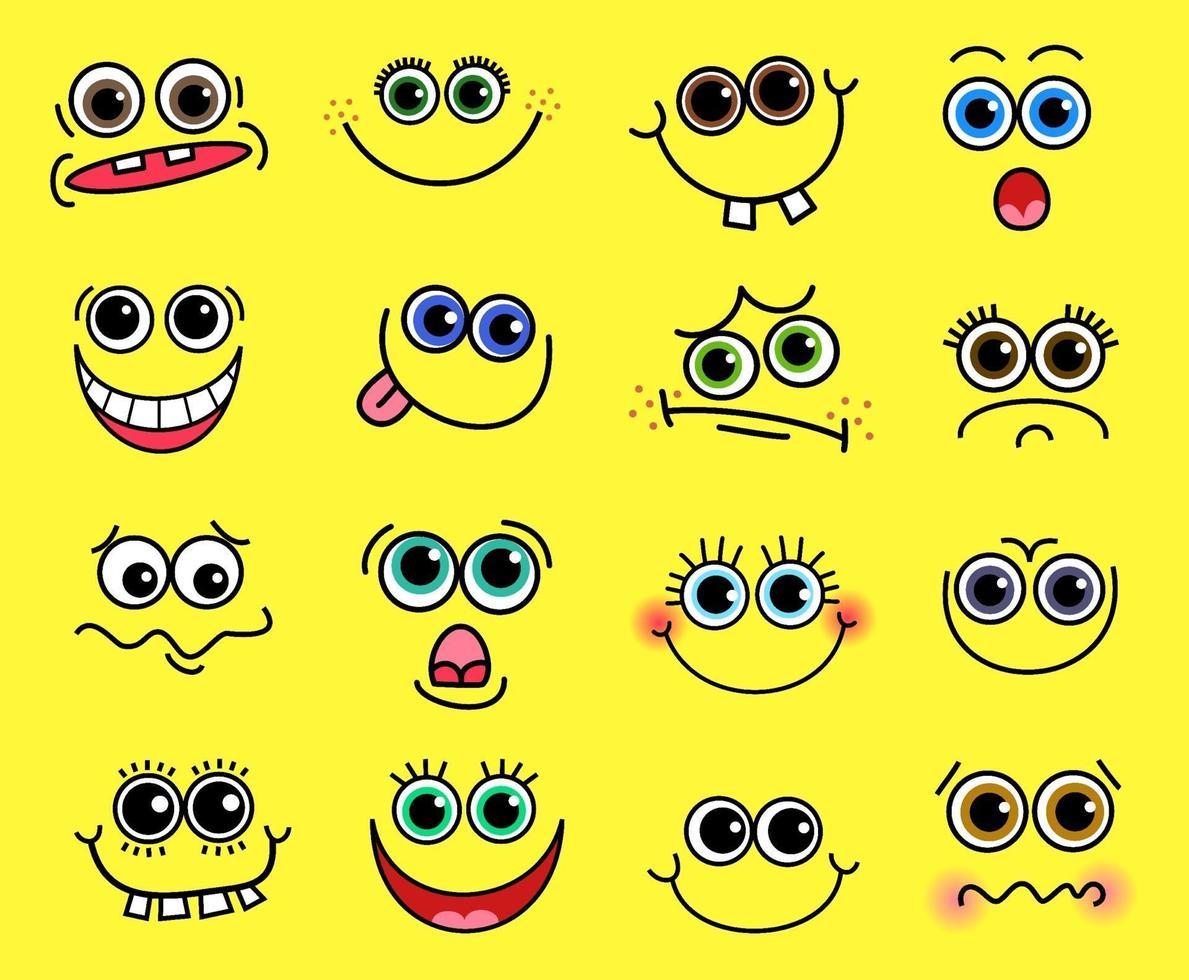 fåniga komiska tecknade mänskliga ansikten vektor